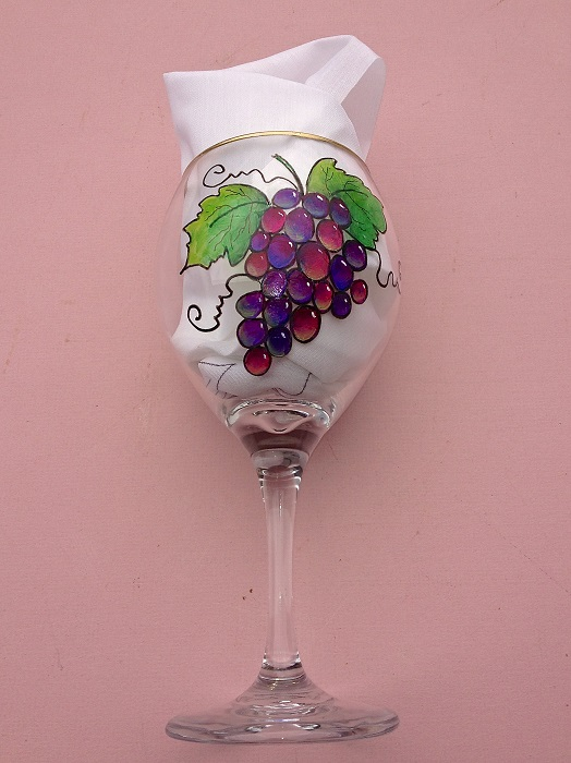 3778a5fb1ec Stained Glass Grapes on Wine Glass Painted on glasses from the Dollar Store  Painted with Gloss enamel paints. Paper Pattern - $7.00